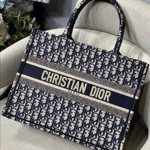 Dior Book Tote Tote Navy Cloth Bagwallet